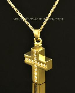 14k Gold Brilliant Cross Keepsake Locket