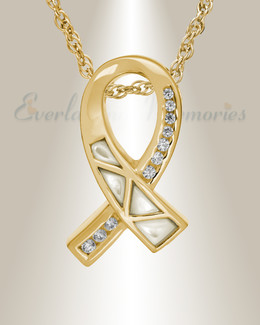 14k Gold Mother of Pearl Ribbon Cremation Charm