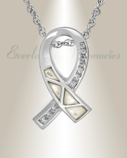 14k White Gold Mother Of Pearl Ribbon Cremation Charm