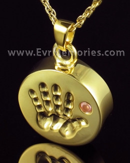 Gold Plated Tiny Hand Pink Urn Pendant