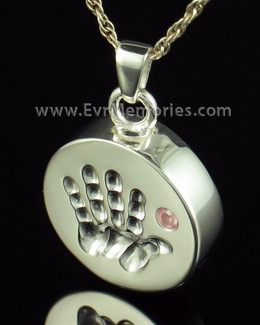 Sterling Silver Tiny Hand Pink Urn Pendant