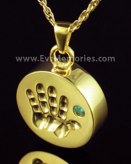 Gold Plated Tiny Hand Blue Urn Pendant