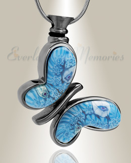 Black with Blue Majestic Butterfly Cremation Jewelry