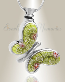 Green Majestic Butterfly Cremation Jewelry