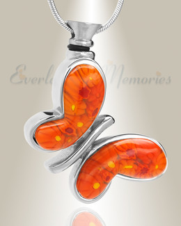Orange Majestic Butterfly Cremation Jewelry