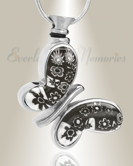 Black and White Majestic Butterfly Cremation Jewelry