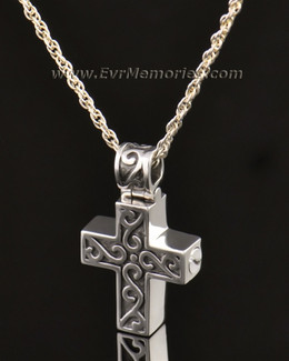 14k White Gold Carved Cross Jewelry Pendant-evr6303wg