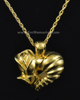Gold Plated Flower Heart Cremation Charm-evr667gv