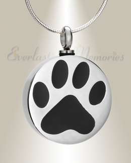 Stainless Loved Pawprint Round Urn Pendant