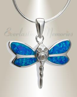 Blue Soaring Dragonfly Urn Pendant