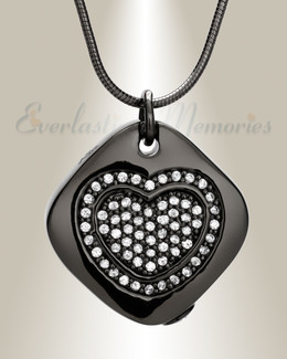 Black Plated Designer Heart Urn Pendant