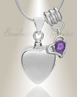 Silver February Simple Heart Urn Jewelry