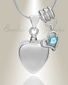 Silver March Simple Heart Urn Jewelry
