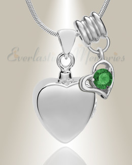 Silver May Simple Heart Urn Jewelry