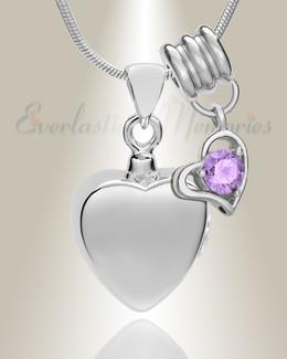 Silver June Simple Heart Urn Jewelry