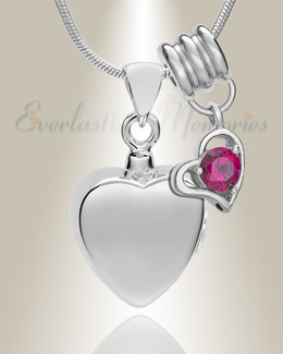 Silver July Simple Heart Urn Jewelry