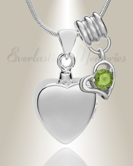 Silver August Simple Heart Urn Jewelry