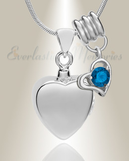 Silver September Simple Heart Urn Jewelry