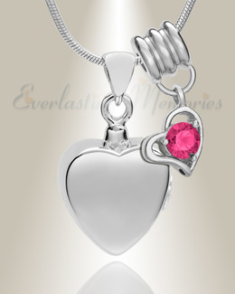 Silver October Simple Heart Urn Jewelry