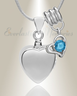 Silver December Simple Heart Urn Jewelry