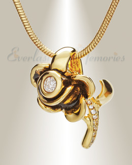 Gold and Black Radiant Rose Memorial Jewelry