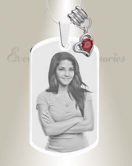 Large Photo January Dog Tag Stainless Engraved