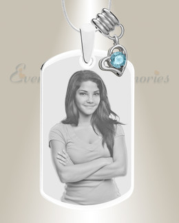 Large Photo March Dog Tag Stainless Engraved