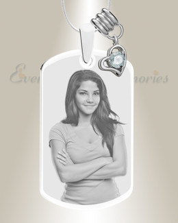 Large Photo April Dog Tag Stainless Engraved