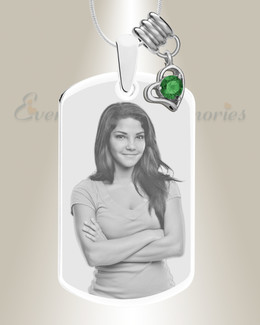 Large Photo May Dog Tag Stainless Engraved