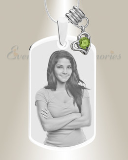 Large Photo August Dog Tag Stainless Engraved