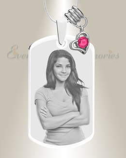 Large Photo October Dog Tag Stainless Engraved