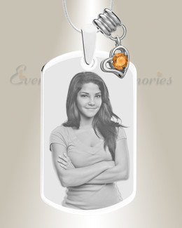 Large Photo November Dog Tag Stainless Engraved