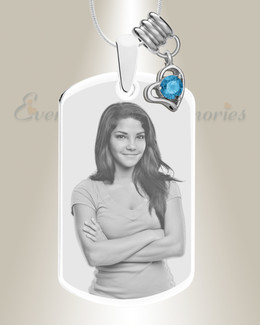 Large Photo December Dog Tag Stainless Engraved