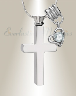 April Remembrance Cross Locket Necklace
