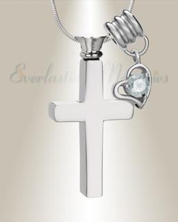 April Remembrance Cross Locket Necklace
