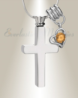 November Remembrance Cross Locket Necklace