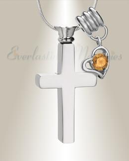 November Remembrance Cross Locket Necklace