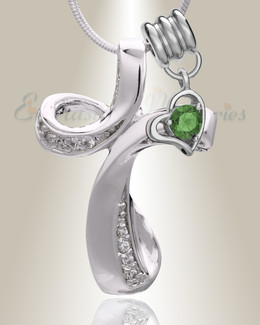 Silver May Forever Cross Cremation Jewelry