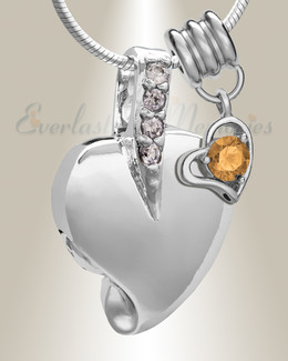 Silver November Heavenly Heart Cremation Jewelry