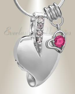 Silver October Heavenly Heart Cremation Jewelry
