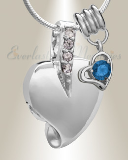 Silver September Heavenly Heart Cremation Jewelry