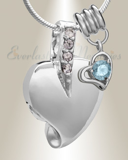 Silver March Heavenly Heart Cremation Jewelry
