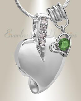 Silver May Heavenly Heart Cremation Jewelry