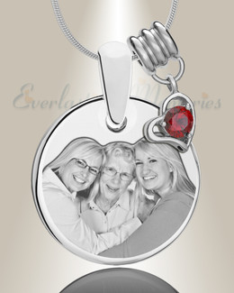 Round January Photo Engraved Stainless Keepsakes