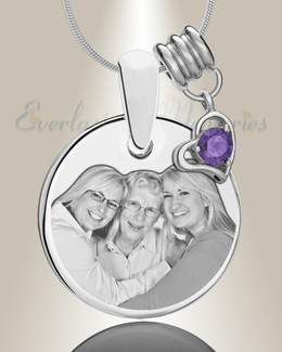 Round February Photo Engraved Stainless Keepsake