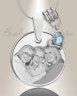 Round March Photo Engraved Stainless Keepsake