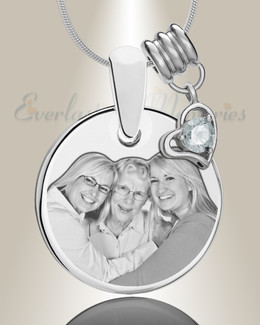 Round April Photo Engraved Stainless Keepsake