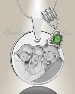 Round May Photo Engraved Stainless Keepsake