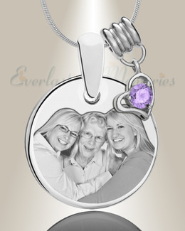 Round June Photo Engraved Stainless Keepsake
