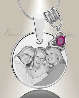 Round July Photo Engraved Stainless Keepsake